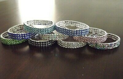 3 Row Silver Rhinestone Crystal Stretch  Bracelet - Bangle Bling  Wristband 3 Row Stretch Rhinestone Bracelet