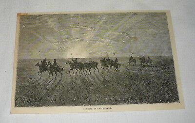 1879 magazine engraving ~ SUNRISE IN THE DESERT