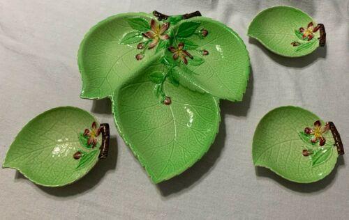 English Carlton Ware 4 Piece Green Leaf Design Serving Dishes Very Cute 1Lg  3sm