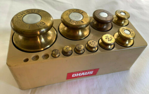 Set OHAUS Graduated Brass Weights for Balance Scale 1Kg to 5 Gm Vintage