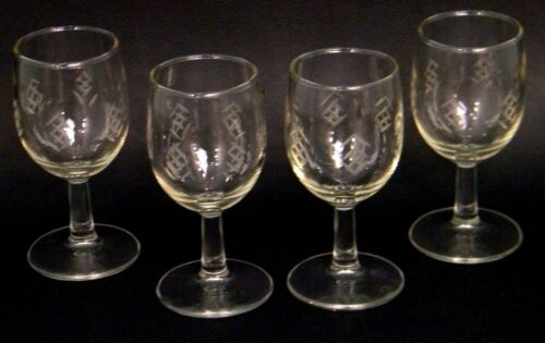 4pc MiD CENTURY ViNTAGE 50s JAViT CUT CRYSTAL PiCKET 6oz STEM WiNE BAR GLASSES