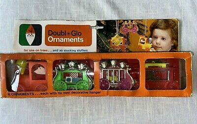 VTG CHRISTMAS DOUBL GLO CIRCUS TRAIN 4 ORNAMENTS SET IN BOX HONG KONG