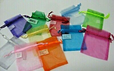 LOT 12 sheer organza mesh drawstring GIFT bags  * 2x3 SMALL* free US ship