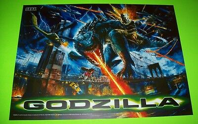 Godzilla Pinball Machine Translite Sheet 1998 Original NOS Sega Monster Artwork