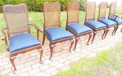 Ethan Allen Georgian Court Set of 6 Cherry Queen Anne Caned Arm Chairs Blue seat