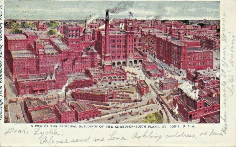 1908 ANHEUSER BUSCH BREWING ASSN Postcard Picture of the Brewery Complex BUD