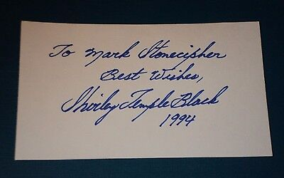 "SHIRLEY TEMPLE /  5 x 3""  AUTOGRAPHED  CARD"