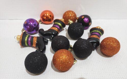 "(12) Halloween Mini Glitter Plastic Orange Black Witch Boots Ornaments 1.75"""