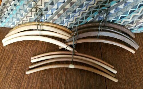 "Lot of 12 Vintage Wooden fur Hangers 16"" / 17"""