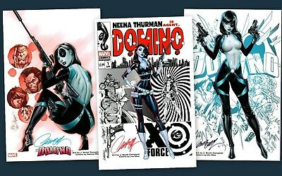 Used, J. SCOTT CAMPBELL DOMINO X-FORCE SDCC 2018 SET OF 3 SIGNED ART PRINTS  for sale  Shipping to Canada