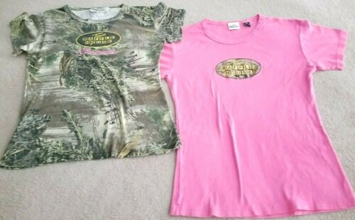 """TWO WAFFLE HOUSE   PINK & CAMO   T-Shirts 16"""" armpit to armpit Team Realtree"""