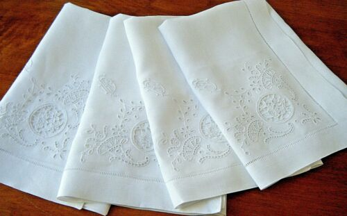 "Antique Napkins set 4 French Linen DAMASK h emb/ed reticella &monogram 21x22"""