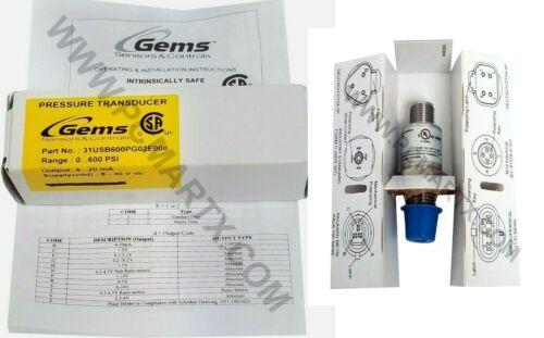 GEMS PRESSURE TRANSDUCER 0-600PSIG 4-20MA 31USB600PG02E000
