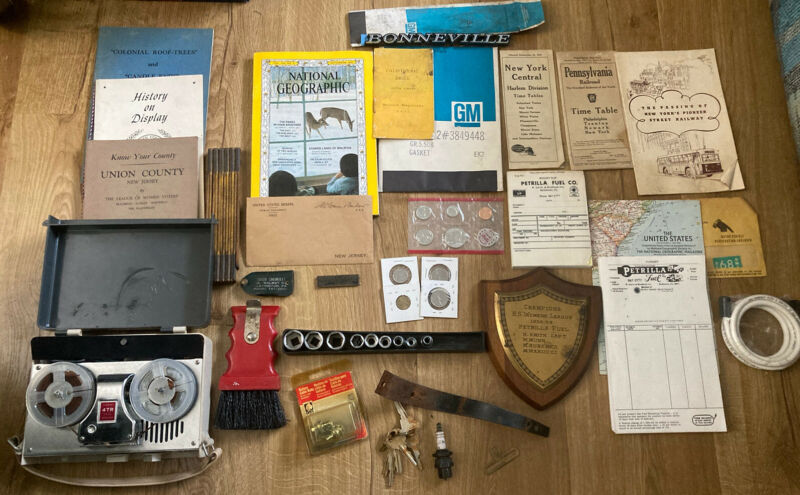 Junk Drawer Miscellaneous Mixed Box Lot Vintage Items Chevy GM Reel To Reel