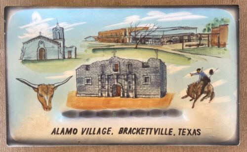 "Vintage Alamo Village Brackettville Texas Souvenir Ceramic Tray 10"" x 6"""