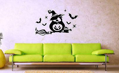 Wall Stickers Vinyl Decal Nursery For Kids Owl on Broom Halloween Bats ig1414 - Halloween Bats On Wall