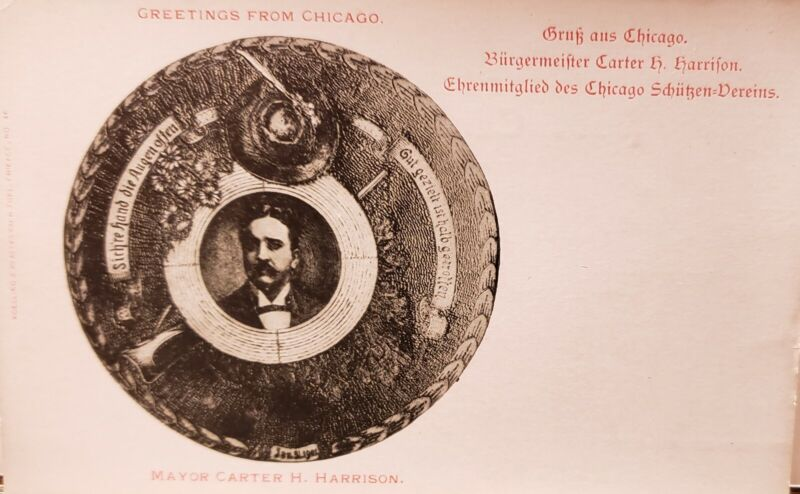 ANTIQUE VINTAGE GERMAN POSTCARD ASSASSINATED CHICAGO IL MAYOR CARTER H HARRISON