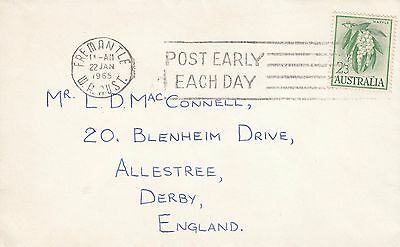N 2047 Fremantle UK air1965  cover; 2/3d white wattles; very neat