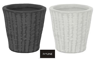 Ivyline Murcia Textured Planter Flower Plant Pot 11cm White or Black
