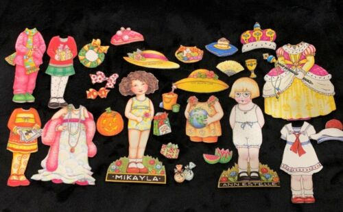 Engelbreit MIKAYLA & ANNE ESTELLE Fabric Paper Dolls with Clothing & Accessories