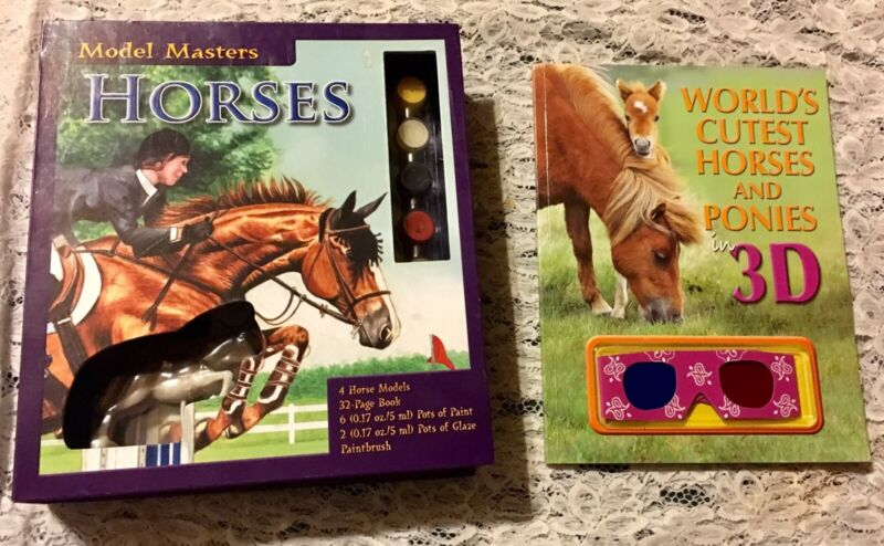 NEW MODEL MASTERS HORSES U PAINT +BOOK OF WORLD OF HORSES IN 3D