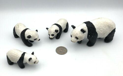 AAA Vintage Lot of 4 PANDA BEAR FAMILY Mom & Cubs Baby Animal Figures