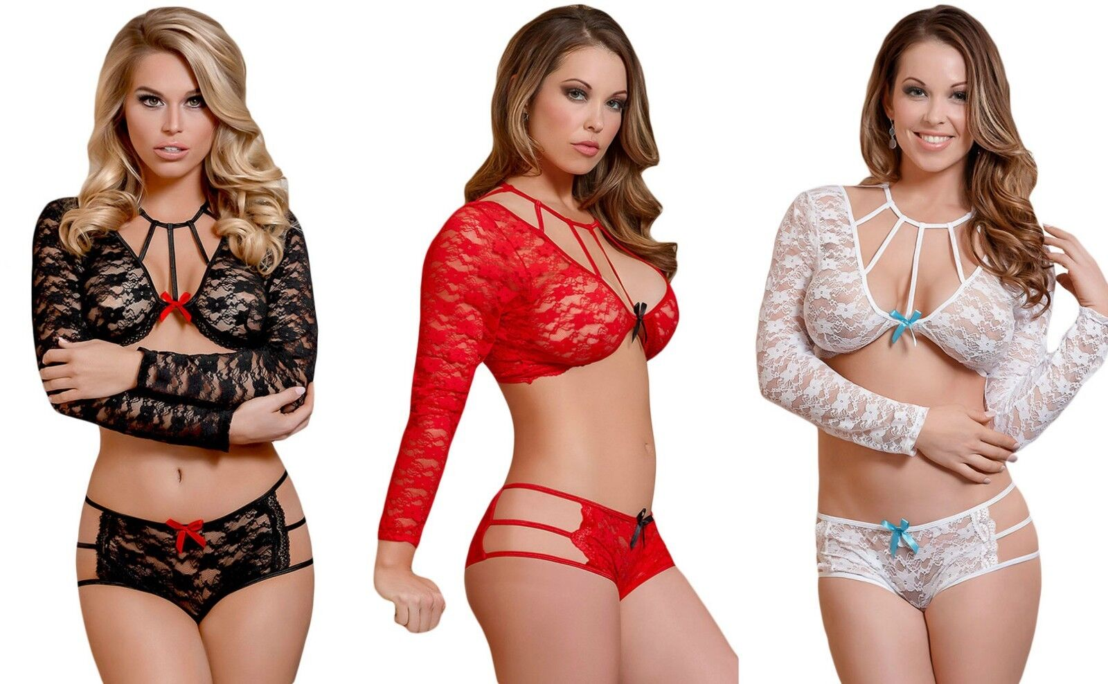 Ladies White Black Red lacy caged beauty Lingerie set nightwear erotic size 8-14