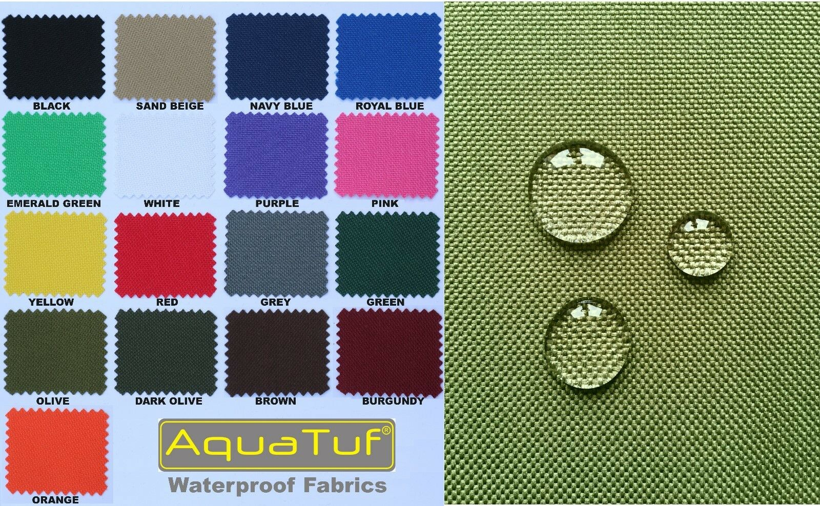 HEAVY DUTY TOUGH WATERPROOF AQUATUF SD OUTDOOR CANVAS FABRIC MATERIAL COVER SEAT