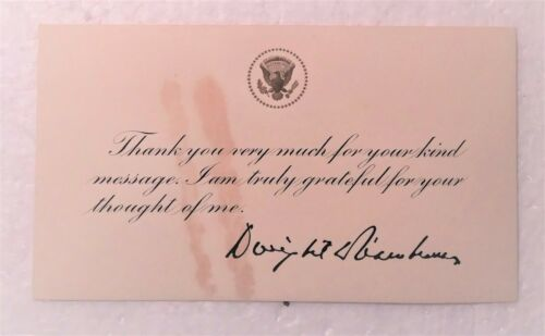 1957 President Dwight D Eisenhower White House Thank You Card & Stamped Cover