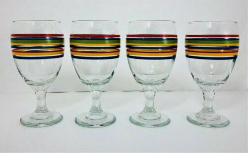 4 Libbey Mambo Fiesta Iced Tea Goblets 16 oz Water Wine Rainbow Red Blue Yellow