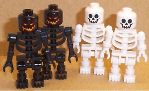 Lego 4 x Skeletons Minifigs Black & White Skeleton Minifigures