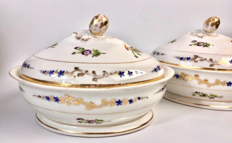 Antique Old Paris Sevres Style Porcelain Vegetable Dishes(2) Early 19c Handpaint
