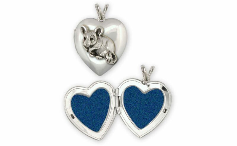 Chinchilla Jewelry Sterling Silver Handmade Chinchilla Photo Locket  CL5-T