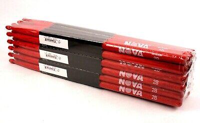 12-Pair BRICK VIC FIRTH® Nova 2B Red Wood Tip DRUM STICKS N2BR Hickory Bulk - Bulk Drum Sticks