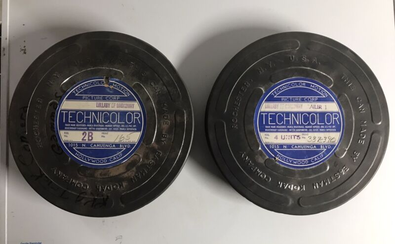 Two Vintage Eastman Kodak Technicolor Canisters Lullaby of Broadway Doris Day