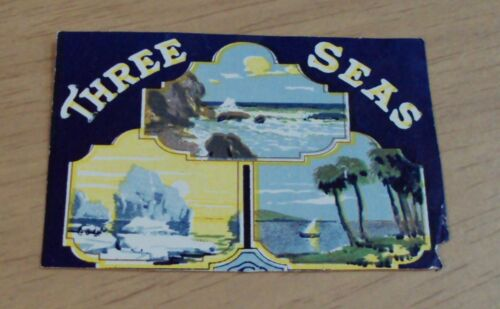 "VTG/Antique AD-TRAVEL Luggage DECAL/Sticker~""THREE SEAS"""
