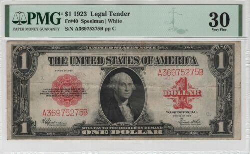 1923 $1 Legal Tender Red Seal Fr.40 PMG Certified Very Fine VF 30 Nice Original