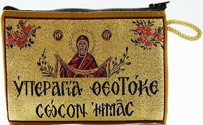 Orthodox Icon Tapestry Pouch Or Purse, Most Holy Theotokos Save Us, Christianity