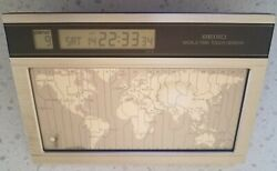 Seiko World Time Touch Sensor Desk Clock-Working 1986 With 27 Time Zones