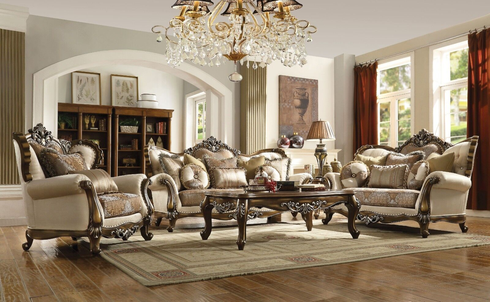 Opulent Traditional Luxury Living Room 3pc Sofa Set Carved Wood Trim Pillows Ebay