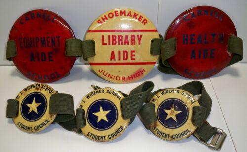 6 Vintage Penn School Arm Bands Equipment Aide, Health Aide, Student Council