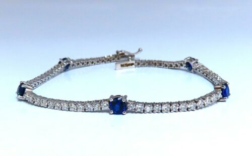 4.90ct Natural Vivid Royal Blue Round Sapphires Diamond Bracelet 14 Karat