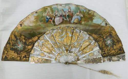 ANTIQUE MOTHER OF PEARL AND PAPER HAND FAN