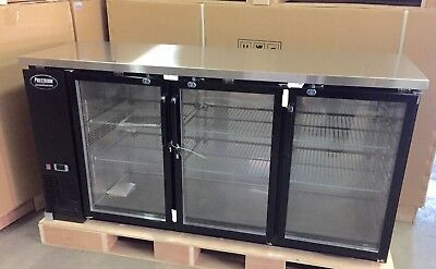 New 3 Door Back Bar Refrigerator 72 Underbar Beer Glass 6 Bottle Cooler