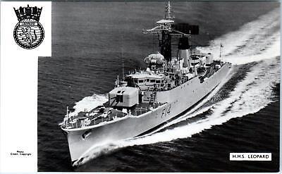 RPPC    Brittish Naval Ship     HMS    LEOPARD     c1950s    Postcard