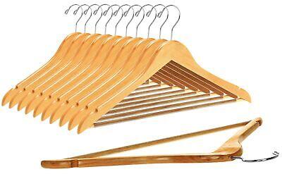 Quality Wooden Hangers - Slightly Curved Hanger Set - Solid Wood Coat Hangers...