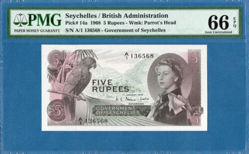 Seychelles, British Administration,  5 Rupees, 1968, Gem UNC-PMG66EPQ, P14a
