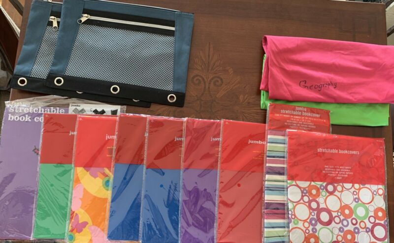 Stretchable School Book Covers And Binder Pencil Holders Bundle