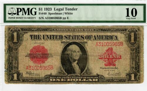 1923 $1 Fr 40 PMG VG-10 Legal Tender Large Size Antique U.S. Note Red Seal #4004