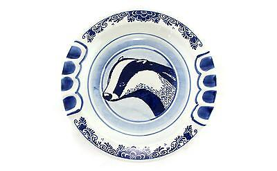A blue & white handpainted badger bowl/dish Swedish pottery